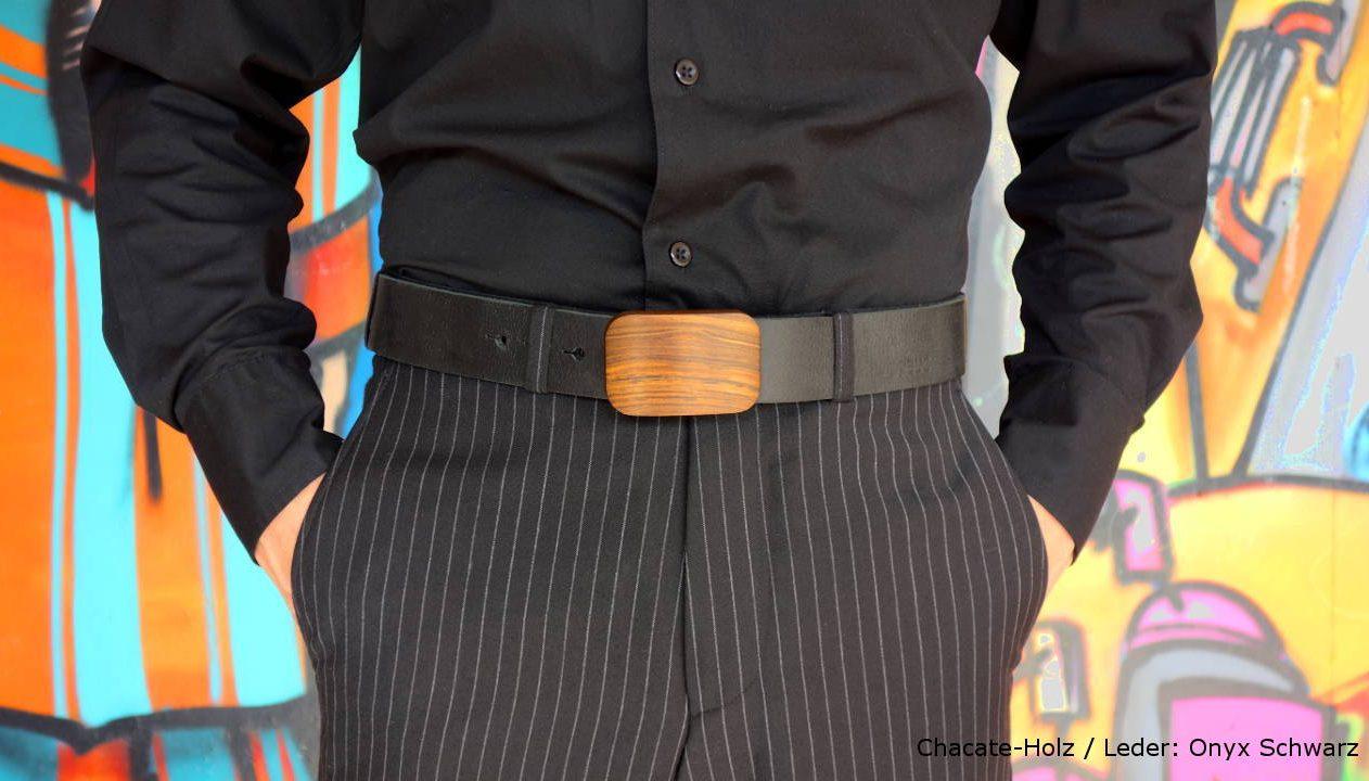 Chacate-Holz-Lederguertel Herren v2-Sandalwood