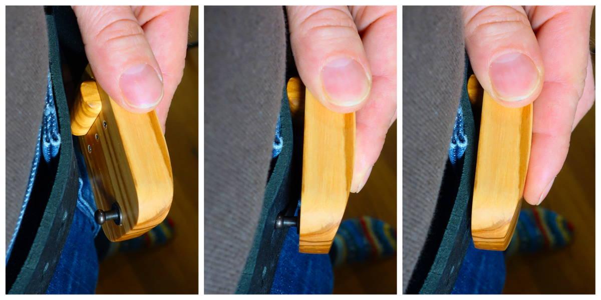 Drei Bilder die zeigen wie der Verschluss der Woobuc Ledergürtel funktioniert
